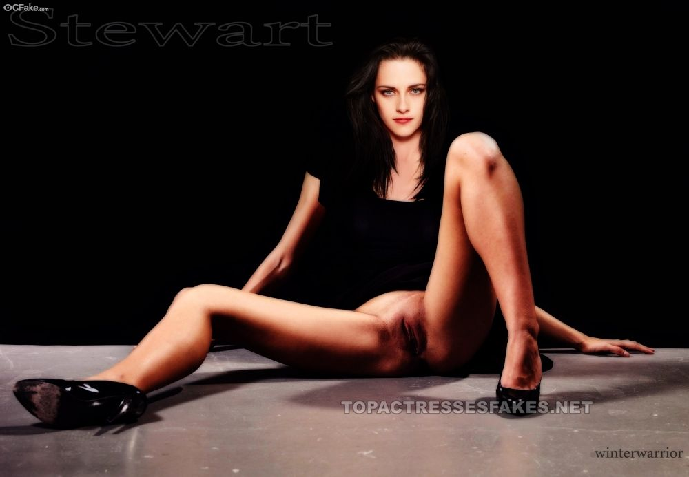 beautiful kristen stewart naked boobs and shaved pussy show fake 002