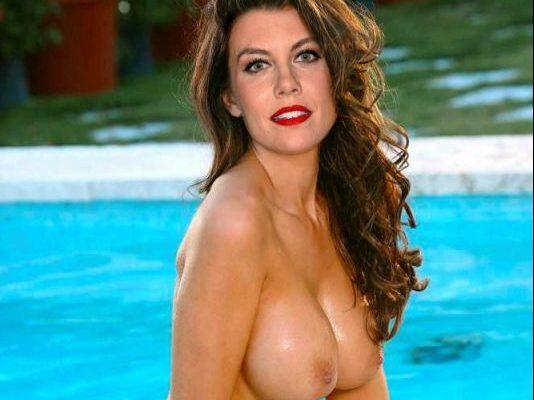 lauren cohan naked at pool showing big tits