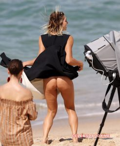 ashley hart topless and g string thong candids 005