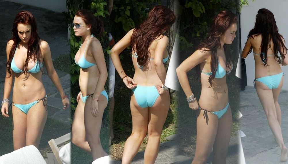 lindsay lohan bikini collage